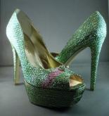 Peridot Green Swarovski Crystal Encrusted High Heel