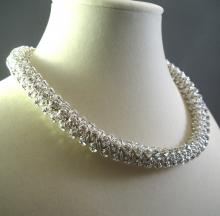 Japanese Crystal Chain Maille Rope Necklace in White Swarovski Crystal