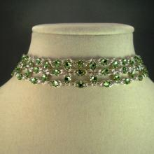 Crystal Brick Chain Maille Choker Necklace in Green Swarovski Crystal