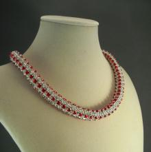 Japanese Crystal Chain Maille Rope Necklace in Red Swarovski Crystal