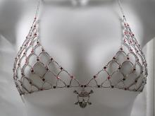 Gothic Skull and Red Swarovski Crystal Chain Maille Bikini Top