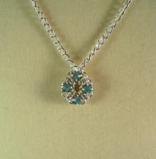 Chain Maille Flower Pendant Necklace in Pacific Opal Swarovski Crystal
