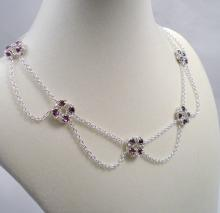 Chain Maille Flower Drape Necklace in Amethyst Swarovski Crystal