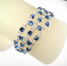 Crystal Brick Bracelet in Sapphire Blue Swarovski Crystal