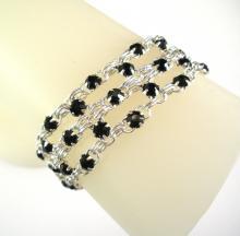 Crystal Brick Bracelet in Jet Black Swarovski Crystal