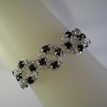 Chain Maille Flower Bracelet in Black Swarovski Crystal