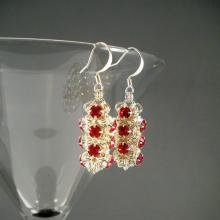 Japanese Chain Maille Earrings in Red Swarovski Crystal