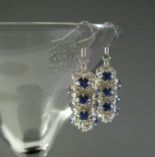 Japanese Chain Maille Earrings in Sapphire Blue Swarovski Crystal