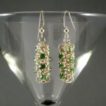 Japanese Chain Maille Earrings in Peridot Green Swarovski Crystal