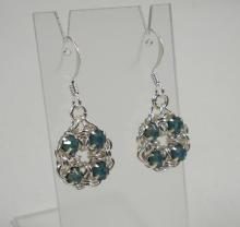 Chain Maille Flower Earrings in Pacific Opal Swarovski Crystal