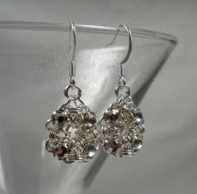 Chain Maille Flower Earrings in White Swarovski Crystal