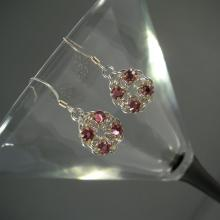 Chain Maille Flower Earrings in Rose Pink Swarovski Crystal