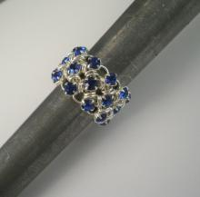 Japanese Chain Maille Eternity Ring in Sapphire Blue Swarovski Crystal
