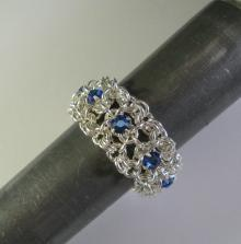 Chain Maille Ribbon Eternity Ring in Sapphire Blue Swarovski Crystal