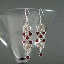 Rhombus Rumba Earrings in Red Swarovski Crystal