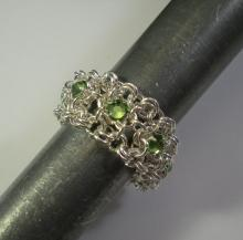 Chain Maille Ribbon Eternity Ring in Peridot Green Swarovski Crystal