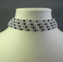 Japanese Chain Maille Choker Necklace in Black and White Swarovski Crystal