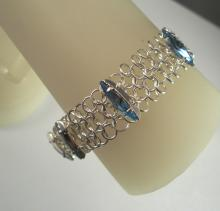 Classic Maille Bracelet with Light Sapphire Swarovski Crystals
