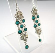 Rhombus Rumba Earrings in Emerald Green Swarovski Crystal