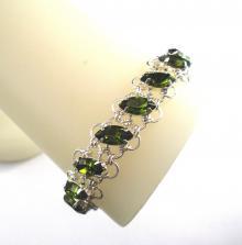 Navette Petals Bracelet in Olivine Green Swarovski Crystal