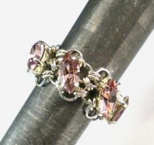Navette Petals Eternity Ring in Light Amethyst Swarovski Crystals