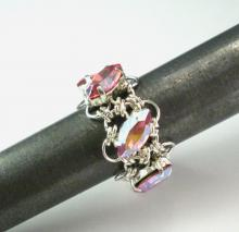 Navette Petals Eternity Ring in Iridescent Rose Swarovski Crystals
