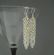 Chain Maille Ribbon Earrings in Peridot Green Swarovski Crystal