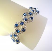 Chain Maille Flower Bracelet in Sapphire Blue Swarovski Crystal