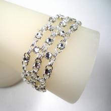 Crystal Brick Bracelet in Clear White Swarovski Crystal