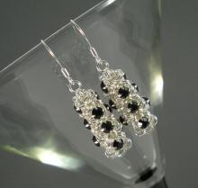Japanese Chain Maille Earrings in Jet Black Swarovski Crystal