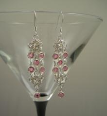 Rhombus Rumba Earrings in Rose Pink Swarovski Crystal
