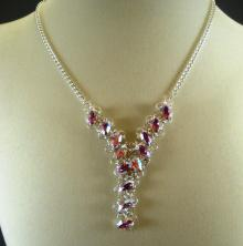 Navette Petals Y Necklace in Iridescent Rose Swarovski Crystal