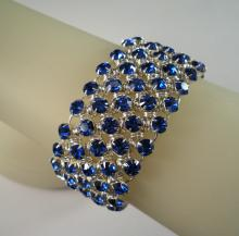 Diamond Meadows Cuff Bracelet in Sapphire Blue Swarovski Crystal