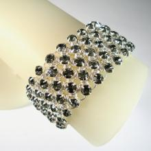 Diamond Meadows Cuff Bracelet in Black Diamond Swarovski Crystal