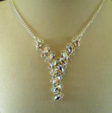 Navette Petals Y Necklace in Iridescent White Swarovski Crystal