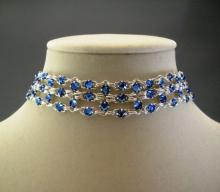Crystal Brick Chain Maille Choker Necklace in Sapphire Blue Swarovski Crystal