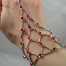 Chain Maille Eternity Bracelet in Red Swarovski Crystal