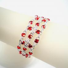 Crystal Brick Bracelet in Red Swarovski Crystal