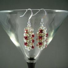 Japanese Chain Maille Earrings in Pink Swarovski Crystal