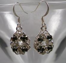 Crystal Flower Earrings in Black Diamond Grey Swarovski Crystal