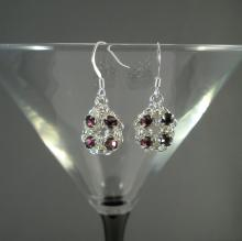 Chain Maille Flower Earrings in Amethyst Purple Swarovski Crystal