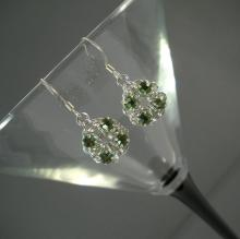 Chain Maille Flower Earrings in Peridot Green Swarovski Crystal