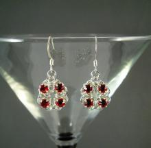 Chain Maille Flower Earrings in Red Swarovski Crystal