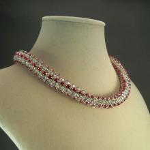 Japanese Crystal Chain Maille Rope Necklace in Pink Swarovski Crystal