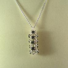 Japanese Chain Maille Pendant in Black Diamond Grey Swarosvski Crystal