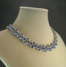 Crystal Flower Necklace in Sapphire Blue Swarovski Crystal