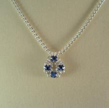 Chain Maille Flower Pendant Necklace in Sapphire Blue Swarovski Crystal