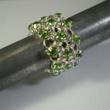 Japanese Chain Maille Eternity Ring in Peridot Green Swarovski Crystal