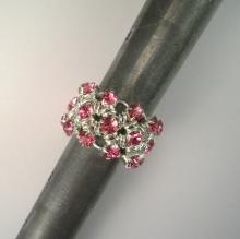 Japanese Chain Maille Eternity Ring in Rose Pink Swarovski Crystal