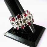 Japanese Chain Maille Eternity Ring in Red and Black Diamond Swarovski Crystal
